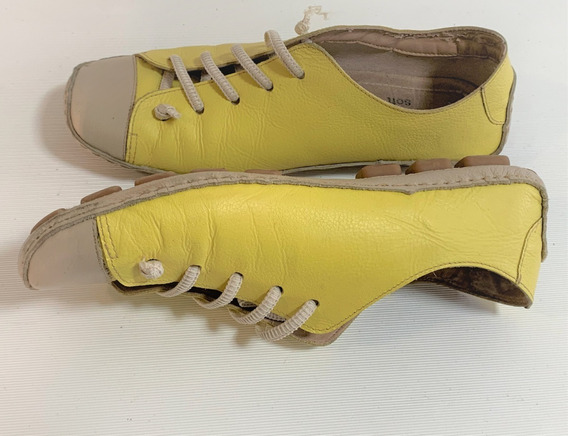 Tênis Comfort Lezard De Couro Soulier Amarelo Limão Tam.37