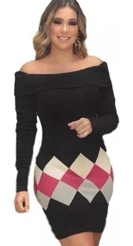 Vestido De Tricô Tricot Modal Ombro A Ombro Roupas Inverno