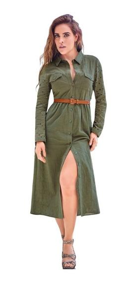 Cklass Vestido Largo Manga Larga Botones Olivo Algodón 98154