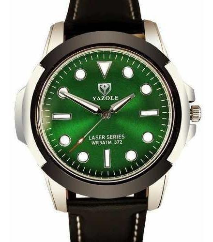 Relógio Masculino Esportivo Yazole 372 Preto Verde