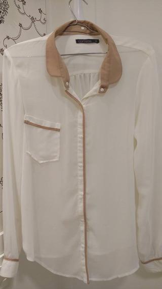 Camisa Bege, Tecido Fino,gola Removível, Tam 42