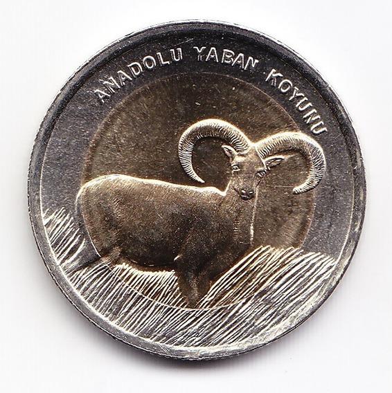Turquía Moneda Bimetálica 1 Lira Turca 2015 Gacela