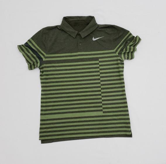 Playera Polo Nike Grande Verde Con Lineas.