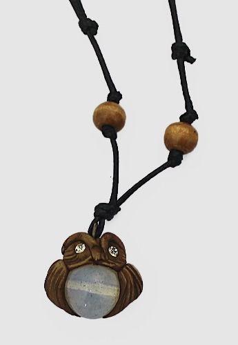 Colar Cordao Pedra Da Lua Coruja - Regulável Hippie