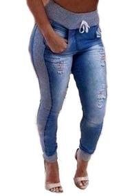 Kit 2 Calça Jeans Feminina Com Moletom Nas Laterais Lycra