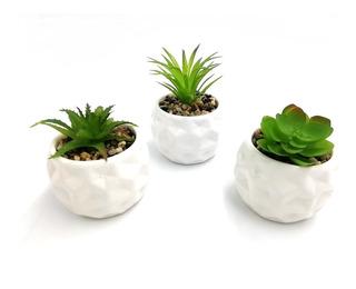 Set 3 Suculenta Planta Artificial Maceta Hexagonal
