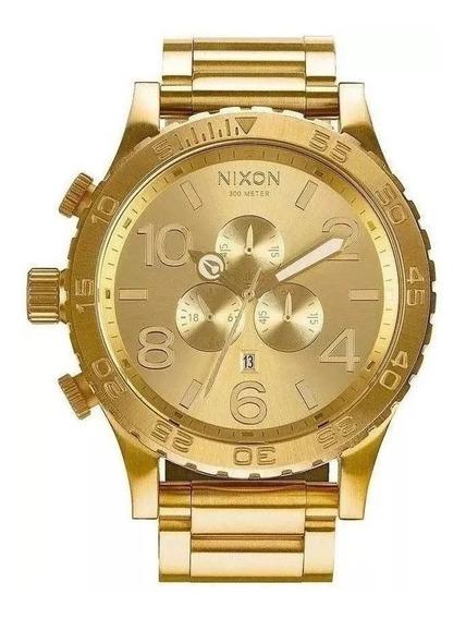 Relógio Nnr5454 Nixon 51-30 Chrono Banhado Ouro 18k C/ Caixa