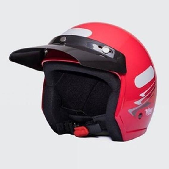 Capacete Moto Aberto Wind V2 Speed Lines Vermelho Tam 58