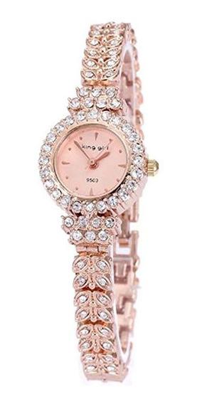 Reloj Pulsera Con Diamantes Para Mujer, Oro Rosa