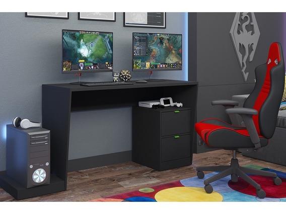 Mesa Para Computador Gamer 2 Gavetas Bmg 01 - Preto