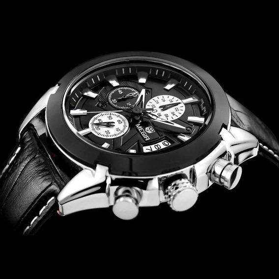 Relógio Masculino Megir M2020 Luxo Inoxidável Couro Original
