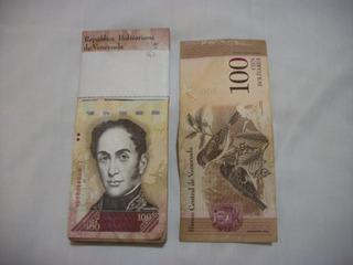 Faja De Billetes De 100 Bs. F Venezolanos De Colección