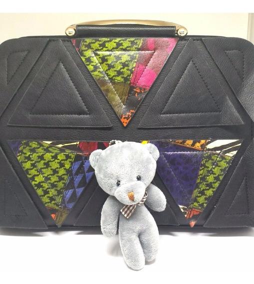 Bolsa Com Chaveiro De Ursinho Em Couro Pu Com Recortes