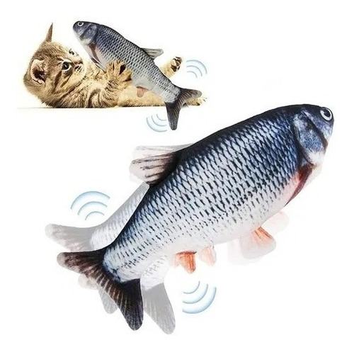Pescado Juguete Tela Mascotas Con Movimiento Usb Para Gatos