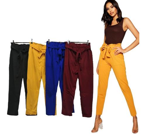 Pantalon Mujer Alto Corto Tela Cinturon Ancho Elegante Moda Mercado Libre