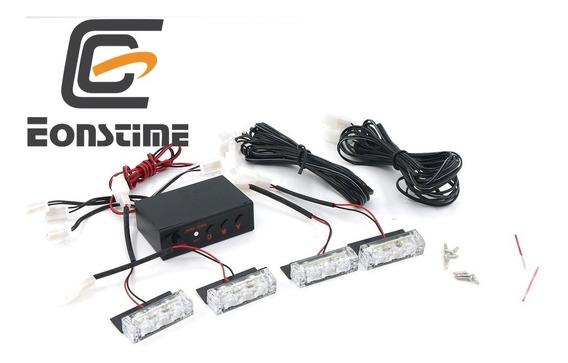 Kit Strobo Altomotivo 4 Lamp Led Branco + Painel De Controle