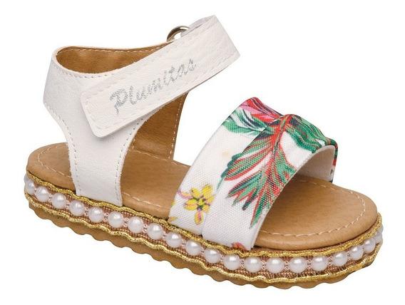 Sandalia Plumitas Oficial Con Flores Para Bebé Blanca