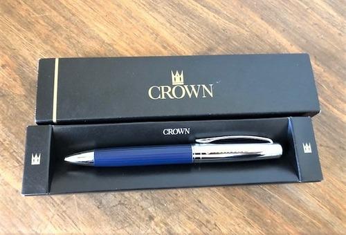 Imagem 1 de 4 de Caneta Crown Azul E Prata Formatura Profissão  Medicina