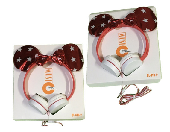 Headphone Da Minnie Mouse Orelhinha E Laço Original Brilho