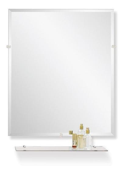 Espejo Reflejar Ole Biselado Con Repisa Rectangular Baño