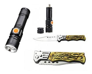 Lanterna Tática Usb + Canivete Camping Pesca Kit
