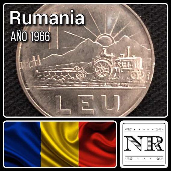 Rumania - 1 Leu - Año 1966 - Km # 95 - Tractor