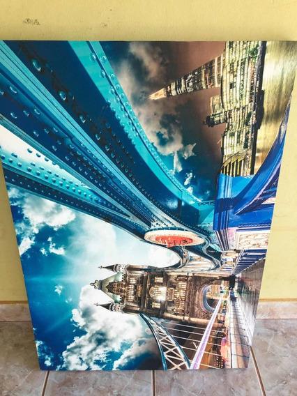 Duas Telas 1,50m X 0.6m Uma Tower Bridge E Outra Abstrata