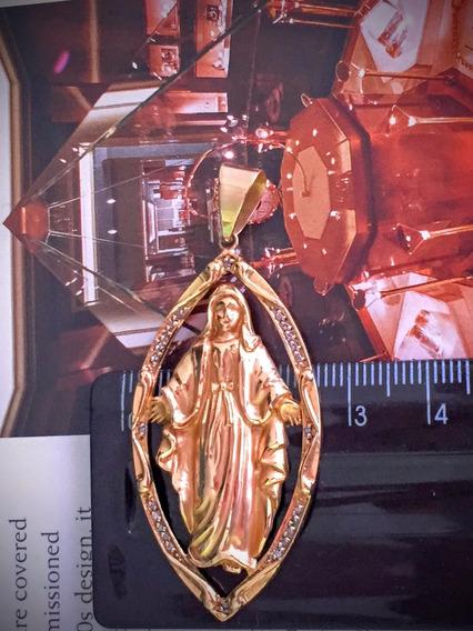 Pingente Santa Ouro 18 K-8.9gr. Com Brilhante