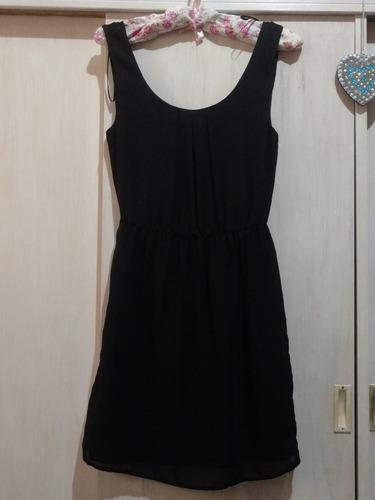 Vestido De Gasa Liso Negro Marca Zara Talle S