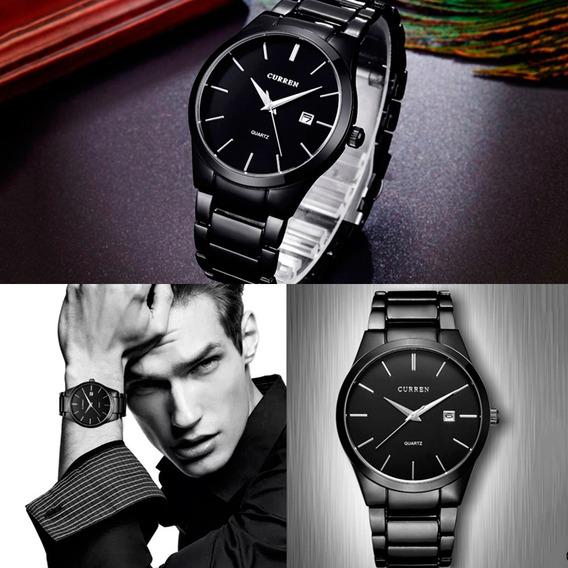 Reloj Curren Caballero Minimalista Elegante Fechador Negro