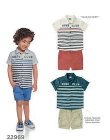 Conjunto Masculino Brandili - Camisa E Bermuda Sarja