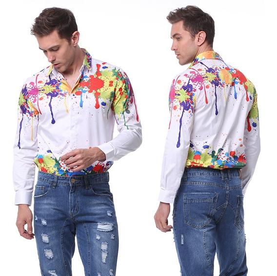 Camisa Hombre Salpicadura Color 3d Imprimir Manga Larga