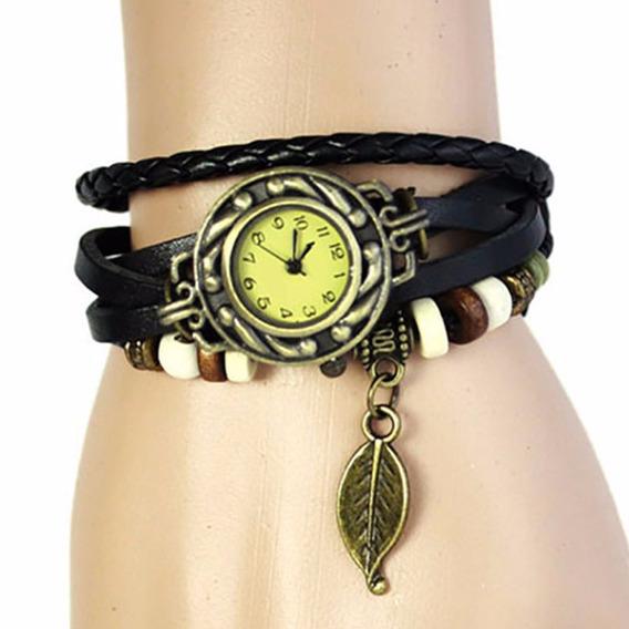 Relógio Feminino Vintage Hippie Pingente Folha Frete Grátis