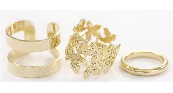 Kit 3 Anéis Aberto Para Mulheres Ajustável Dourado Cod.1051