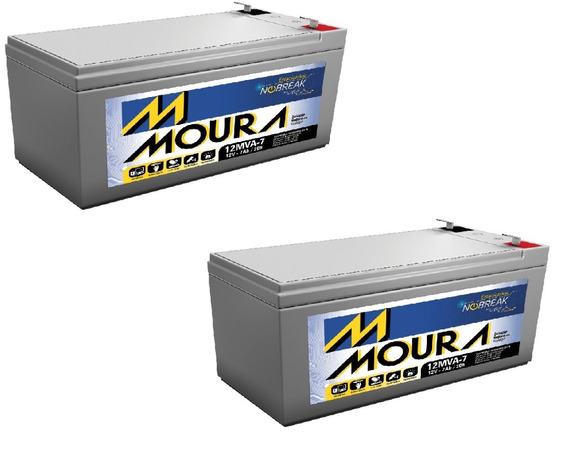 Kit 2 Bateria 12mva-7 Moura No Break Sms Alarmes Gp1272 F2