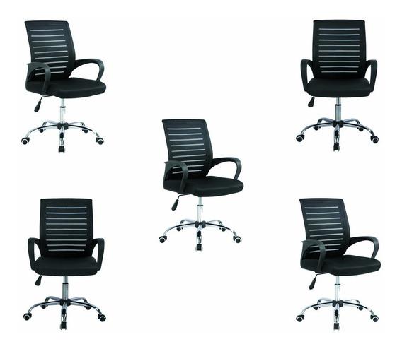 Conjunto De 5 Cadeiras De Escritório Giratória Consultório