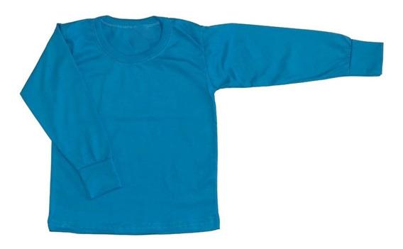 Remeras Manga Larga Camiseta Algodón Peinado Niños Pack 3 Un
