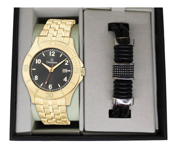 Relógio Champion Masculino Dourado + Kit Bracelete Couro
