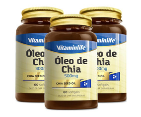 3x Seed Oil Oleo De Chia 500mg - 60 Cápsulas - Vitaminlife