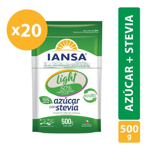 Azúcar Light Con Stevia Iansa 500g Pack 20 Unidades