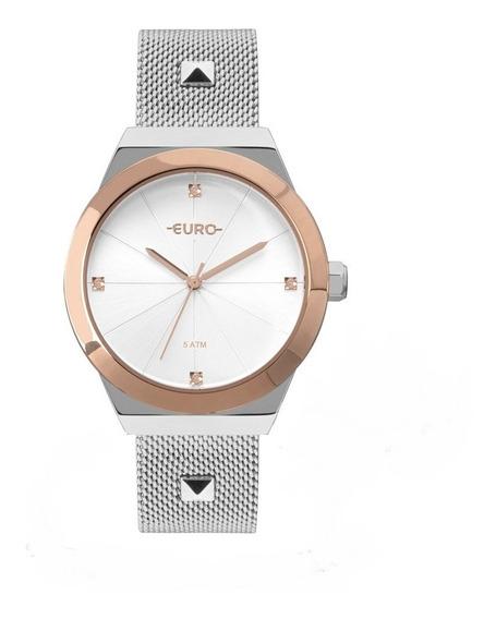 Relógio Euro Unique Feminino Prateado Com Rose Eu2035yri/5k