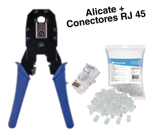 Imagem 1 de 3 de Alicate De Crimpar Rj45 + Conectores Cat5e