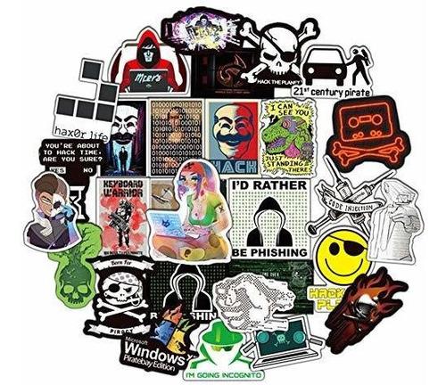 Honch Hacker Stickers Pack 50 Pcs Pegatinas De Cibersegurida