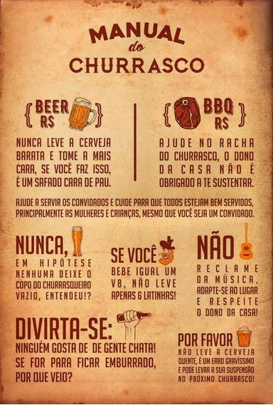 Placa Quadro Decorativo 60x40cm Manual Do Churrasco