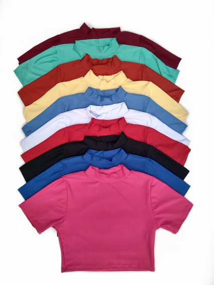 Lote 5 Top Cropped Blusa Curta Feminina Cores Variadas