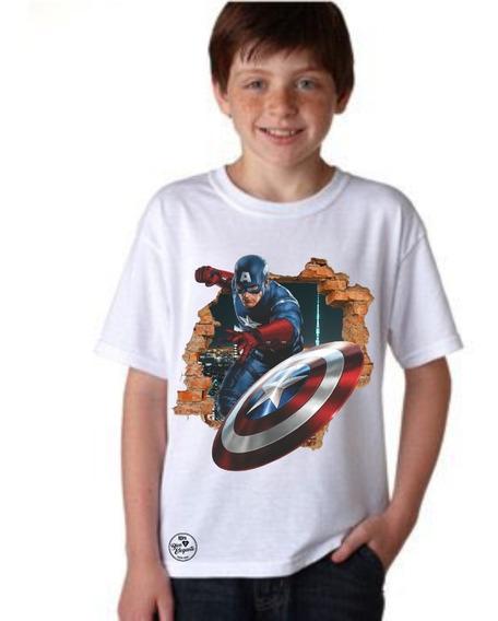 Playera Bien Elegante Avengers Capitán América 2 Para Niño