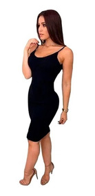 Vestido Midi Canelado Alça Fina Moda Tendencia Feminina 199