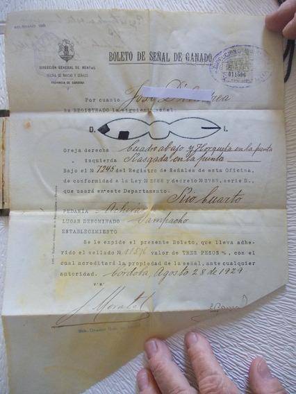 6351- Boleto De Señal Ganado Año 1929 Estampilla