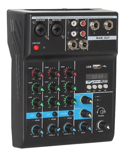 Imagen 1 de 7 de Consola Mixer Mezcladora Sonido 4 Canales A4 Bluetooth Graba