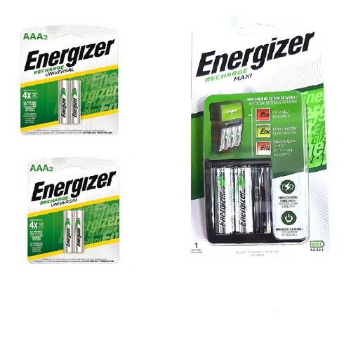 Cargador Energizer Maxi Aa Aaa + 2 Pilas Aa + 4 Aaa Recarg